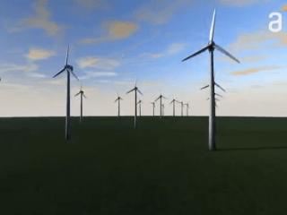 Imagen de un campo con energía eólica