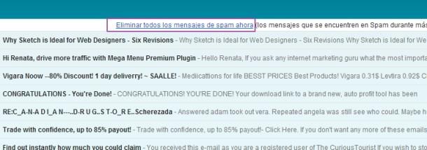 liberar espacio en gmail eliminar mensajes spam