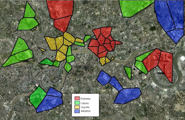 Physical layout of business, nightlife, leisure and industrial clusters in London. Areas not marked with any color indicate residential land use.