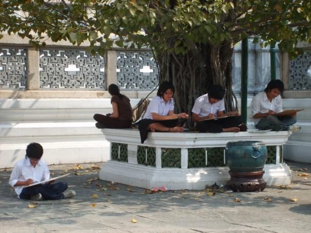 Students who draws in Bangkok