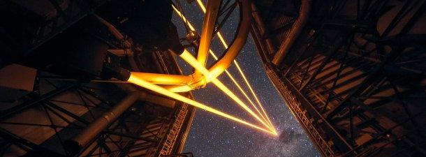 Cuatro láseres forman en Chile la estrella artificial más brillante