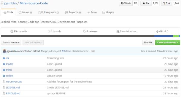 Figure 2. Captura del repositorio de Github en el que ha sido liberado el código fuente de la botnet Mirai.