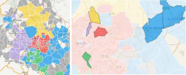 Figura 6: Izquierda: Grupos coloreados de códigos postales conforme a la correlaciónde movilidad (comunidades). Derecha: Para cada comunidad, hay códigos postales quemuestran más actividad y por lo tanto actúan como «polos de atracción» para su comunidad.
