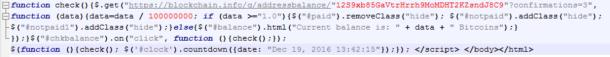 Figura 3. Código HTML de la validación del pago.