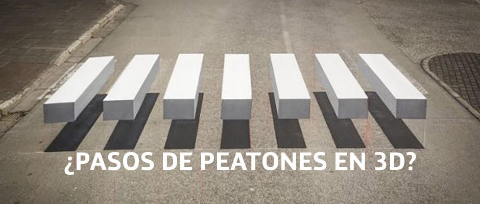 Pasos de peatones en 3D para reducir la velocidad