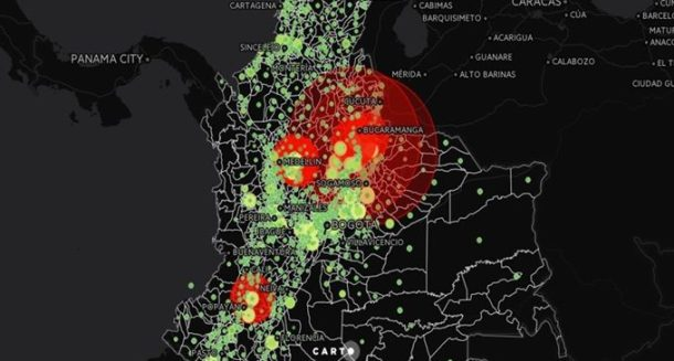 mapa colombia panama venezuela rural