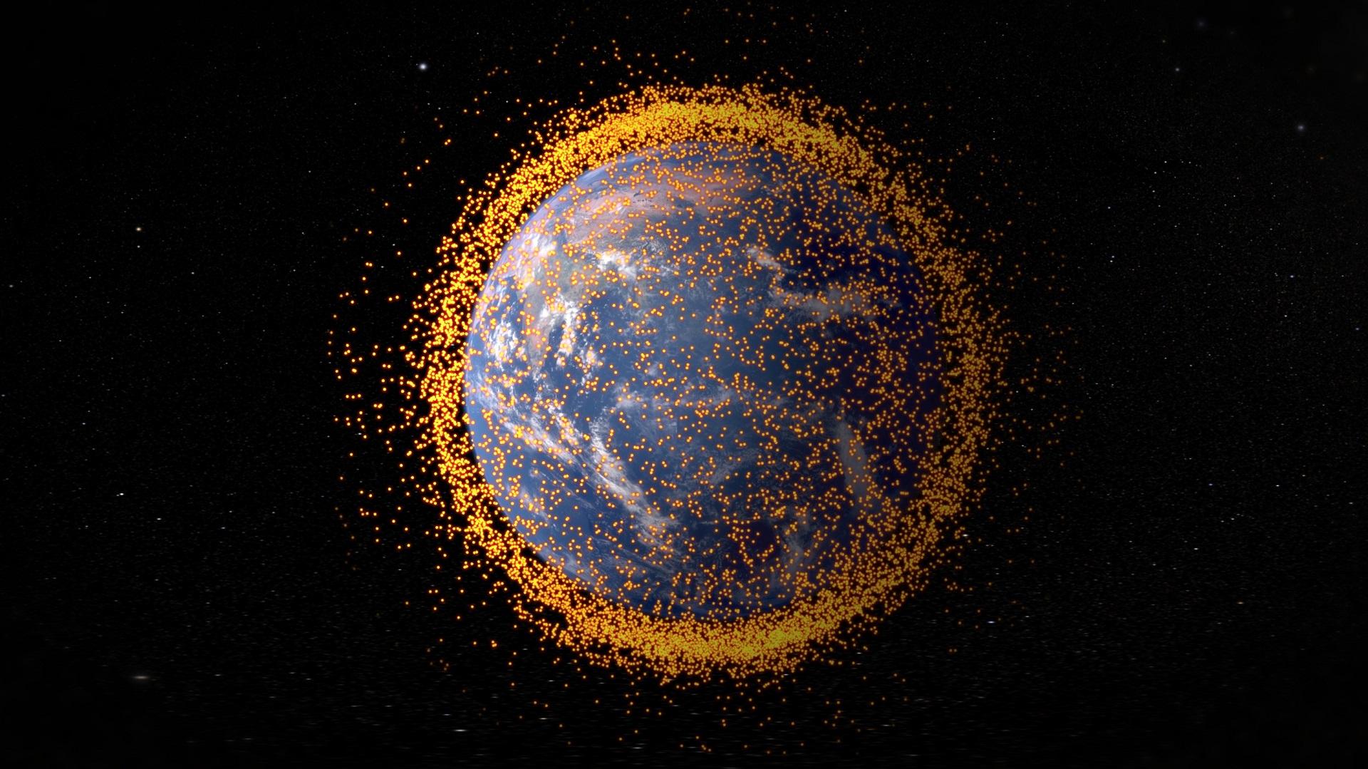 Este satélite marcha a la caza de la basura espacial con un arpón