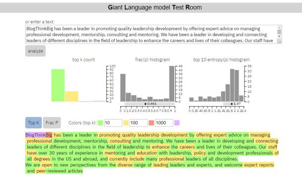 Giant Language Model Test Room GLTR Talk To Transformer