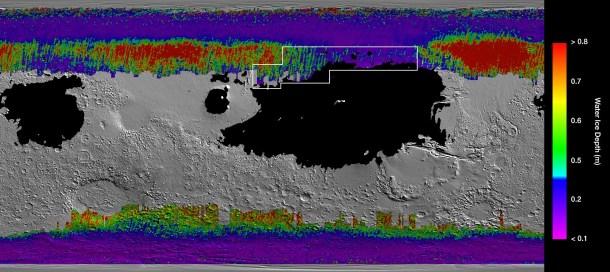 hielo de Marte