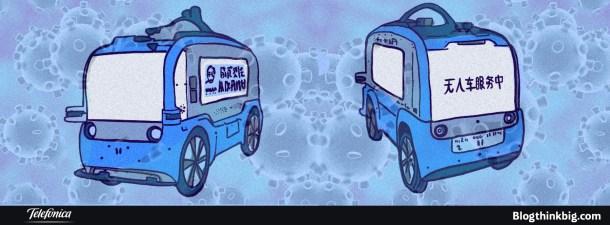 Cómo furgonetas autónomas desinfectan las calles de China del covid-19