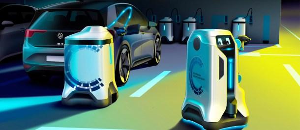 robot cargan coche eléctrico