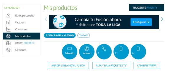 Mis productos router Movistar