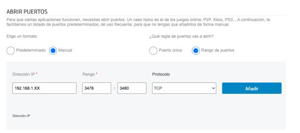 Puerto abrir router Movistar con rango