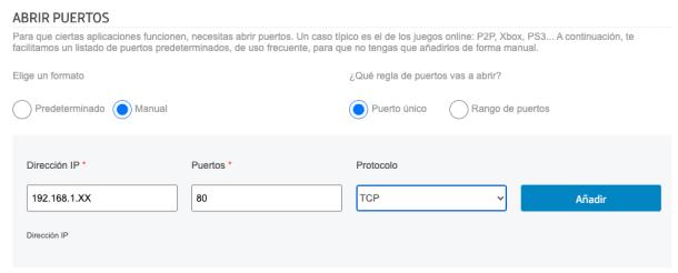 Puerto abrir router Movistar sin rango