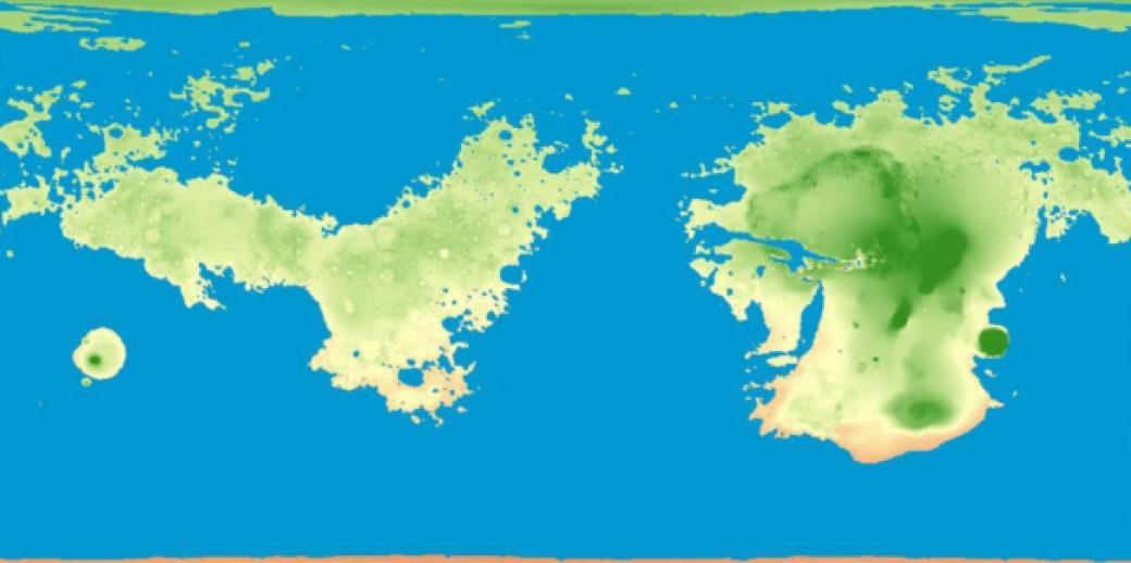 Marte, mapa, océano