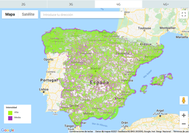 Mapa de cobertura móvil Movistar en España